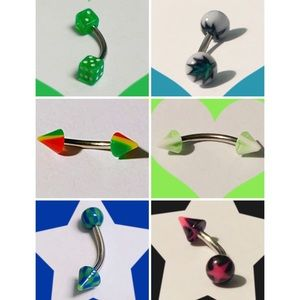 6 Assorted Curved Barbells 🎲⭐️🦚